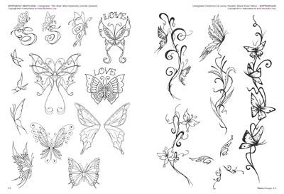 Fiori farfalle for Disegni fiori per tatuaggi
