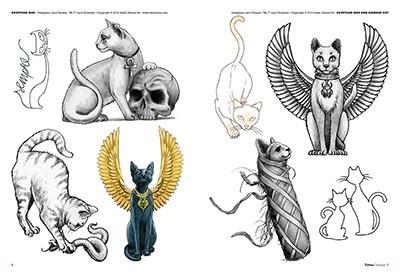 Cat kitten tattoos for Egyptian tattoo flash