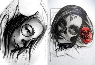 Femmes t te de mort for Teschi da disegnare