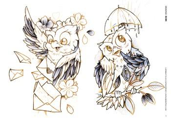 Tattoo professionist 15 hiboux - Dessin new school ...