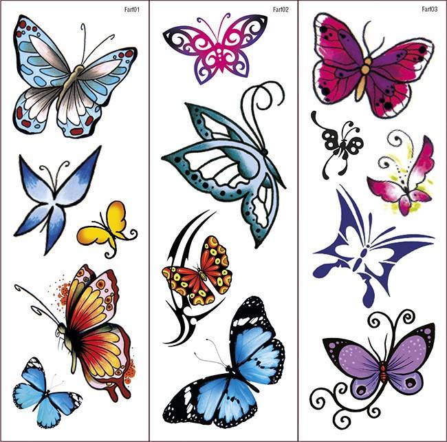 Farfalle Tattoo trasferibili