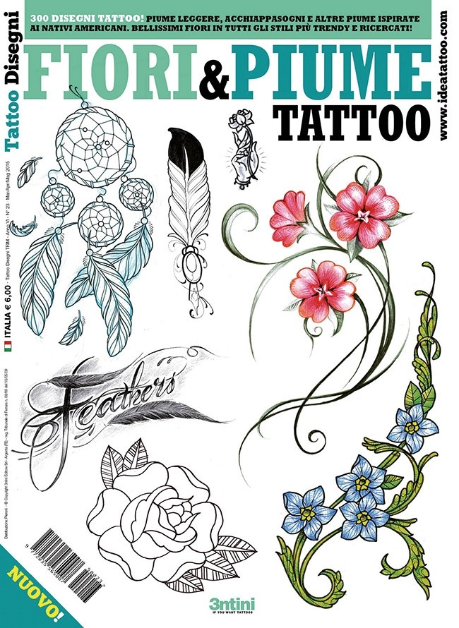 Flower & Feather Tattoos