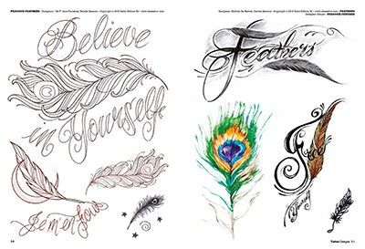 Flower Feather Tattoos