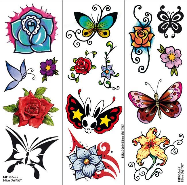 Transfer Tattoo: Butterflies & Flowers Tattoo
