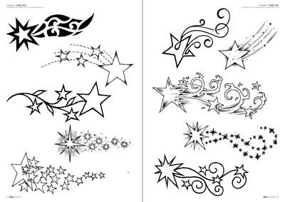 Temporare Tattoos Stern Himmel Schwarz Mix
