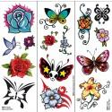 Klebe-tattoos: Tattoo-schmetterlinge Und -blumen