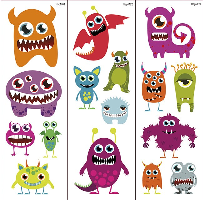 Tatuajes Transferibles Happy Monsters
