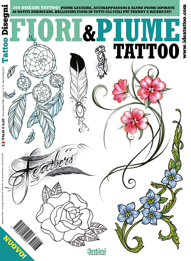 tattoo disegni piume feather fiori flower Disegni tattoo   Piume